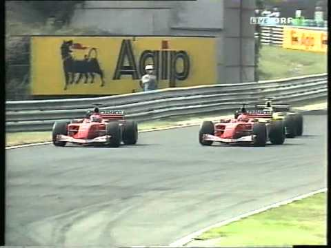 Hungary '01: Schumacher wins 4th title and 51st GP, last lap (ORF live)