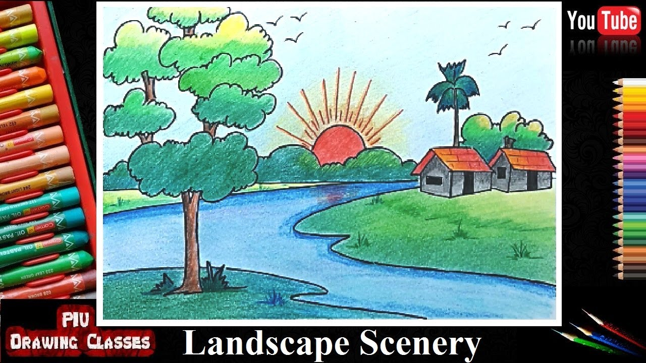 How To Draw Simple Scenery For Kids I Landscape Nature Scenery For Drawing Competition For Beginners
