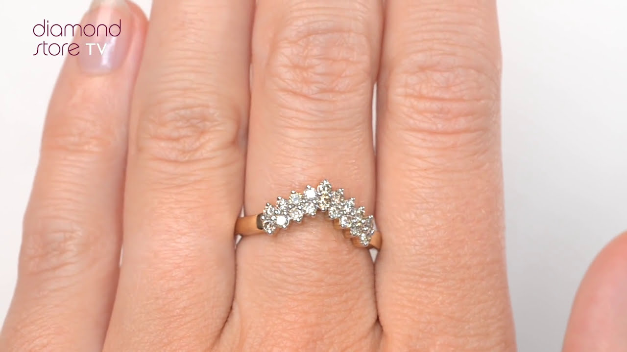 E3800 - 0.45CT Diamond Wishbone Ring In 9K Yellow Gold - YouTube