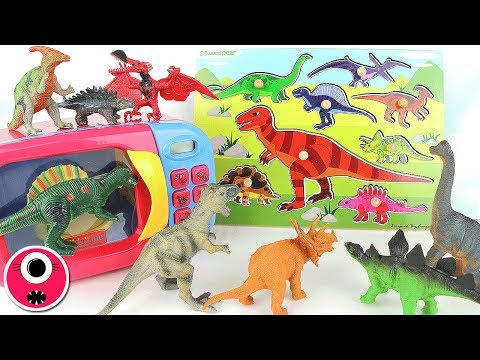 Learn Dinosaurs With Wooden Puzzle/Dinosaur Toys Surprise Eggs/Just Like Home Microwave Oven