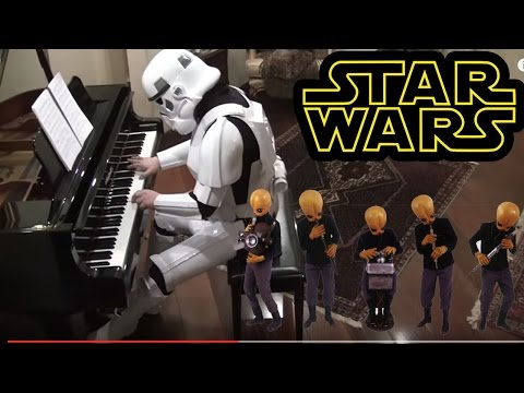 Stormtrooper plays Cantina Band music on piano - Starwars soundtrack