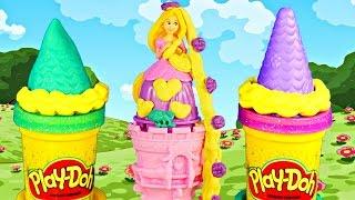 PRINCESS Rapunzel's Play Doh Garden Tower Mix n' Match Disney Sparkle Playdough CherBear Toys