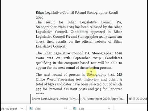 Bihar Legislative Council PA and Stenographer Result 2019 Released on bi...