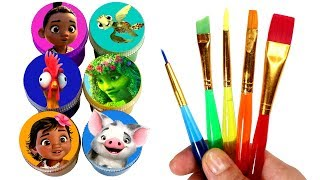Baby Moana Drawing and Painting with Surprise Toys How to Draw Pua Heihei Te Fiti Heart Sea Turtle