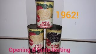 Opening and taste testing canned fruit from 1962