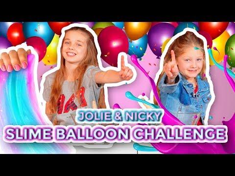 MYSTERY SLIME BALLOON CHALLENGE MET JOLIE & NICKY!