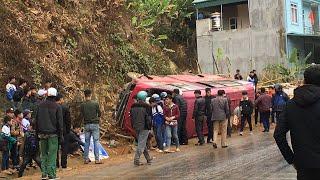 Chứng kiến cảnh tai nạn giao thông giữa 2 ôtô tải và xe khách tại đèo chiềng pấc traffic accidents