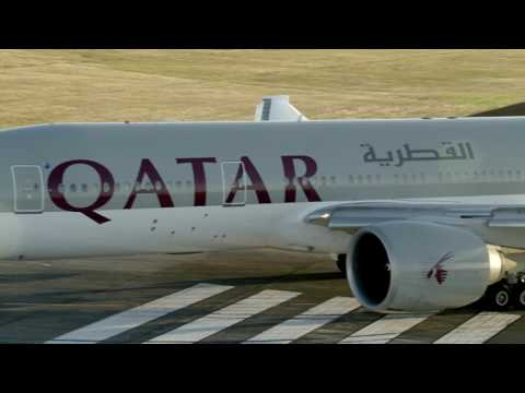 Qatar Airways inaugural flight landing in Auckland, New Zealand