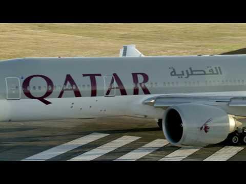 Qatar Airways inaugural flight landing in Auckland, New Zealand