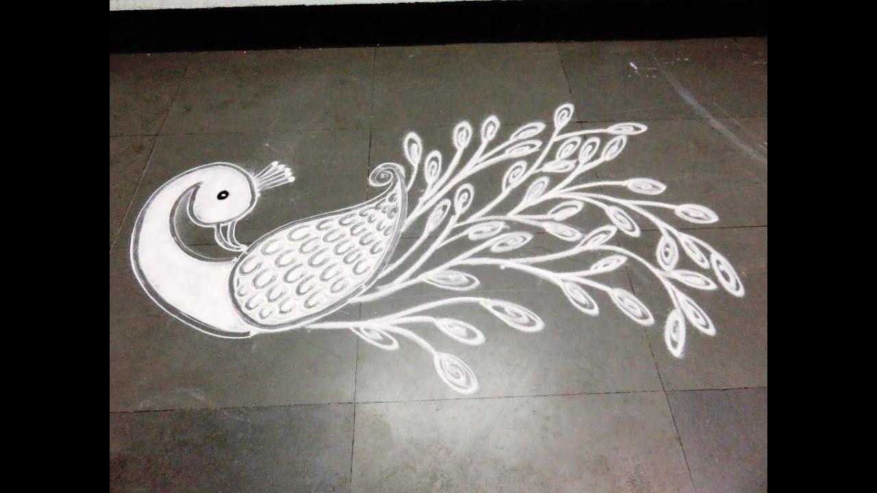 how to draw peacock rangoli