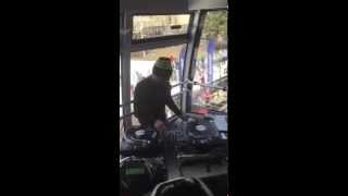 Mix Master Mike on the tram at Jackson Hole Mountain Resort