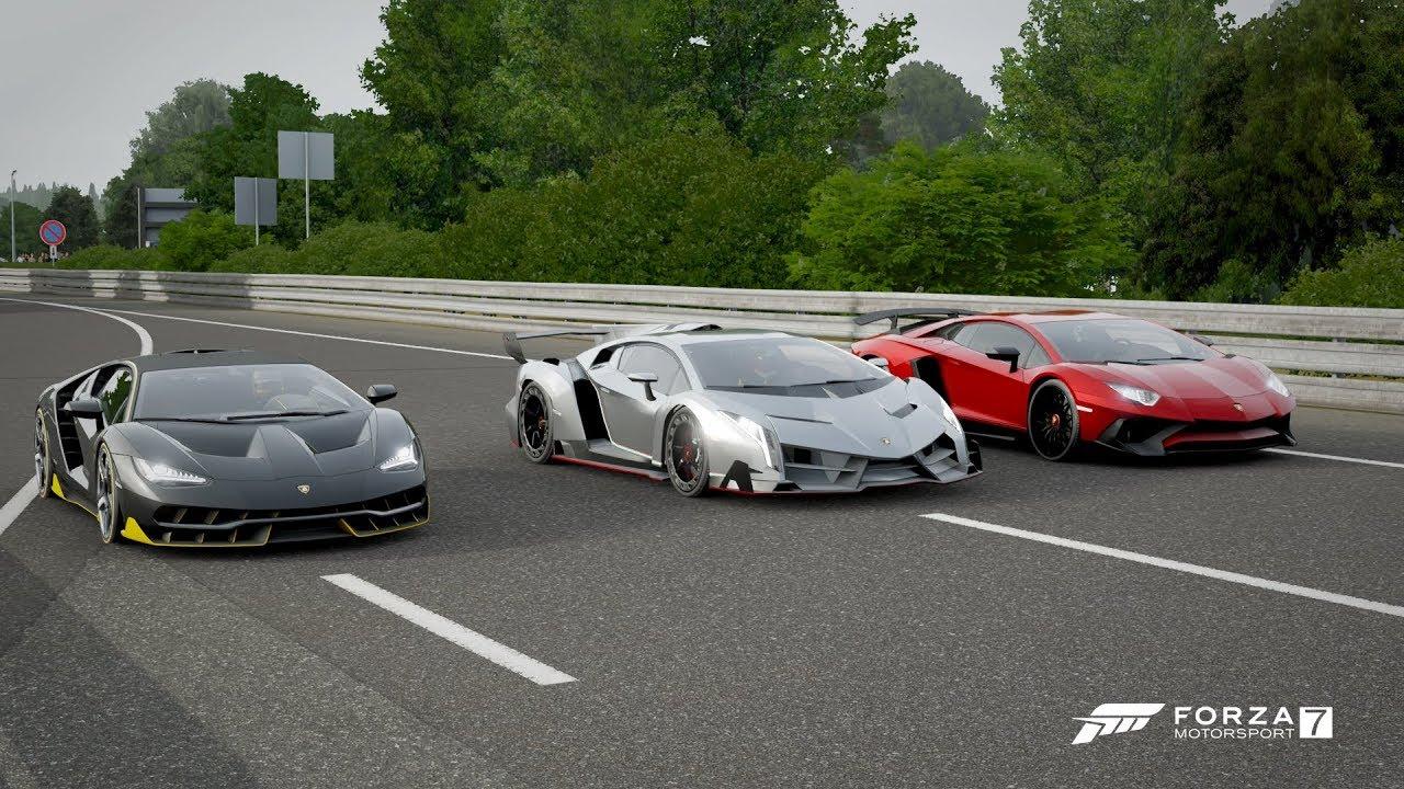 Forza 7 Drag Race Lamborghini Centenario Vs Veneno Vs Aventador Sv