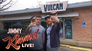 Jimmy Kimmel and Matthew McConaughey Make A Local TV Commercial for Vulcan Video(Before our trip to Austin, Jimmy posted a tweet asking for any local business that might want him to help them produce a TV commercial. He decided on beloved ..., 2015-03-17T07:30:01.000Z)