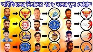 আইপিএলের নিলাম শেষে ৮ দলের ফুল স্কোয়াড IPL AUCTION 2018: FULL LIST of Players bought by IPL Teams