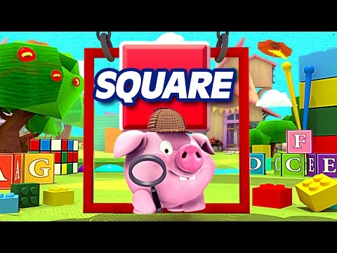 Dumpster Truck & Little Pig Learn Square Shape & Craft - appMink Kids Cartoon