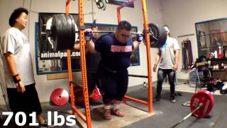 701 pounds paused squat 20 yrs old