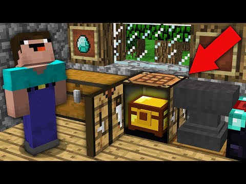 Minecraft NOOB Vs PRO: NOOB FOUND SECRET CACHE IN THIS CRAFTING TABLE! Challenge Trolling