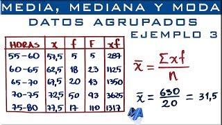 Media, mediana y moda | Datos agrupados en intervalos Ejemplo 3 thumbnail