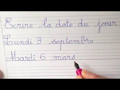 Top Leçon d'écriture cursive : écrire et lire la date en cp ce1 et ce2  JZ98