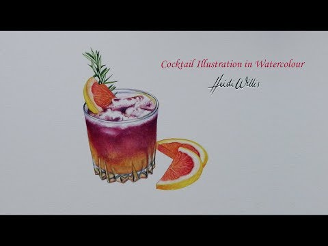 Drink Illustration in Watercolour Blood Orange and Rosemary