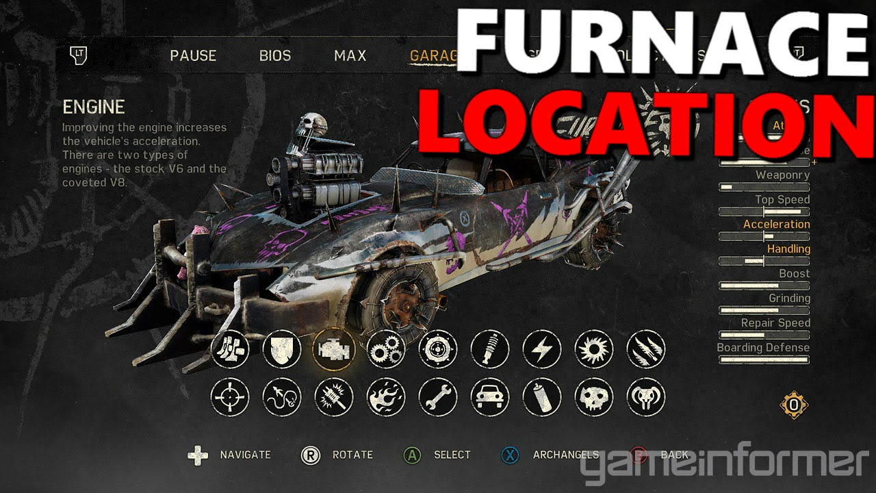 Mad Max Game All Car Locations Furnace Youtube