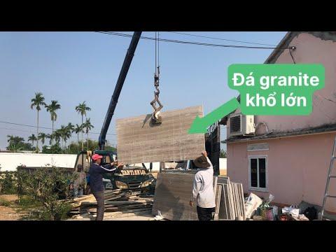 Kho Tư liệu Xây dựng - Quá trình chuyển đá Granite khổ lớn từ xe tải xuống bãi công trình