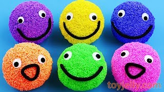 Learn Colors with Play Foam Balls Happy Smiley Face Kinder Joy Kiner Surprise Eggs Fun for Kids