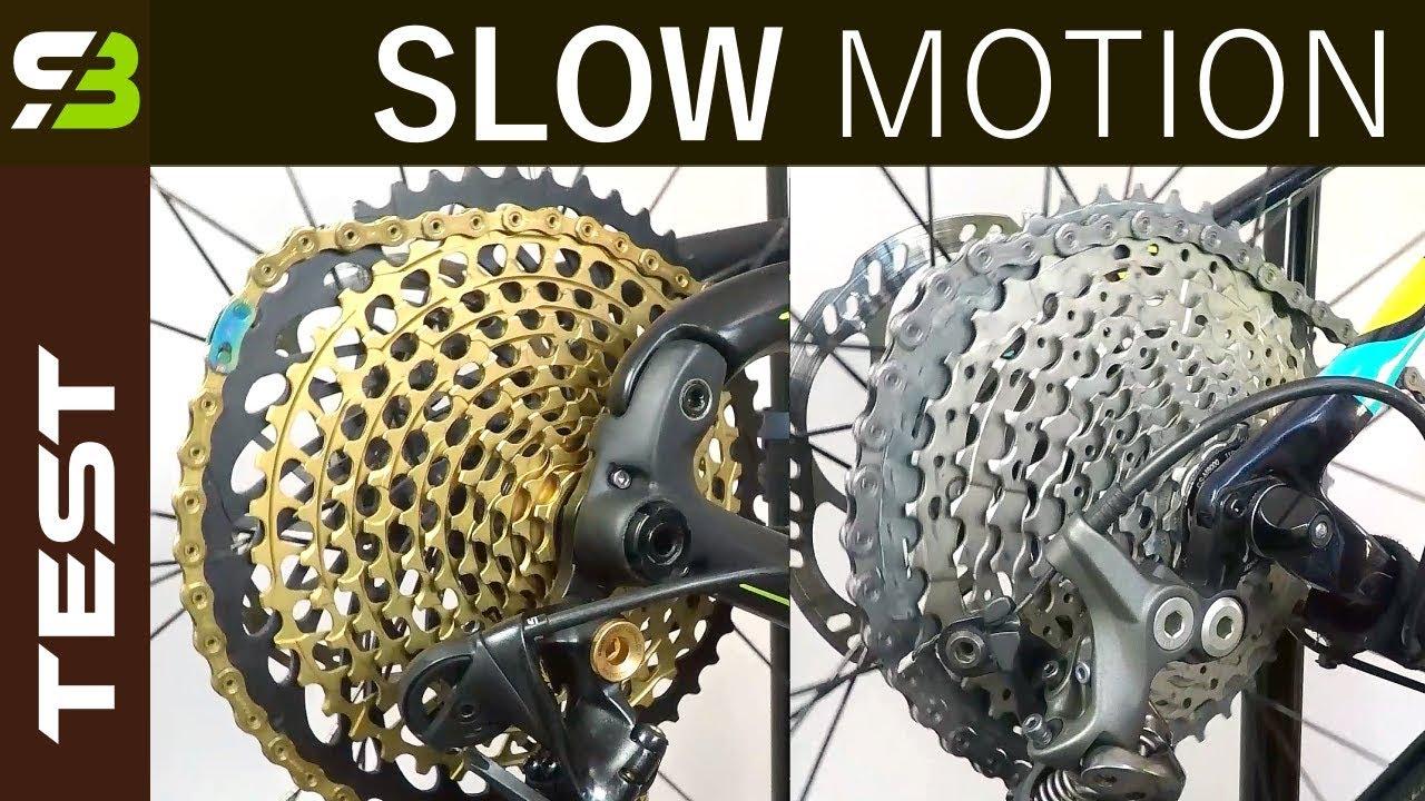 Shimano XTR / XT vs Sram XX1 Eagle - Shifting Performance In Slow Motion
