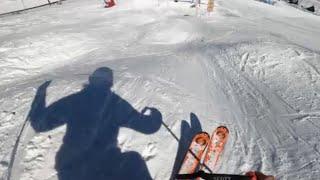 Deb Armstrong skis the zipperline, Mogul Skiing