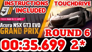 Asphalt 9 - Acura NSX GT3 EVO Grand Prix Round 6 - 00:35.699 Touchdrive Instructions 2 Star