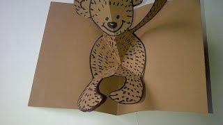 Como hacer tarjetas de amor en 3D con oso de peluche.   Como fazer cartões com urso