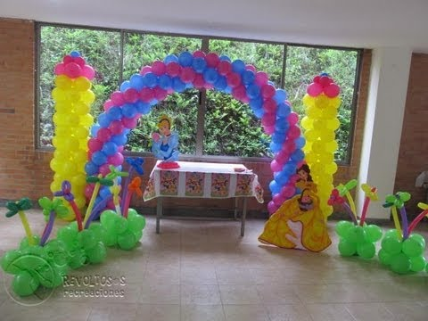 DECORACION CON GLOBOS PRINCESAS DE DISNEY MEDELLIN - YouTube