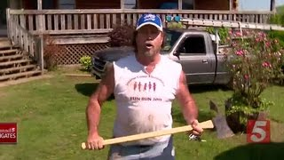 Squatter Comes At Nashville TV News Crew With Axe