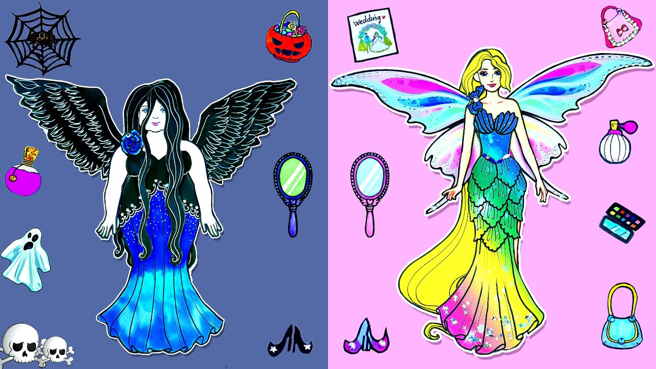 Demons and Thin Angel Barbie ~ Paper Dolls Dress Up How to Make Stories Barbie ~ Dolls Beauty
