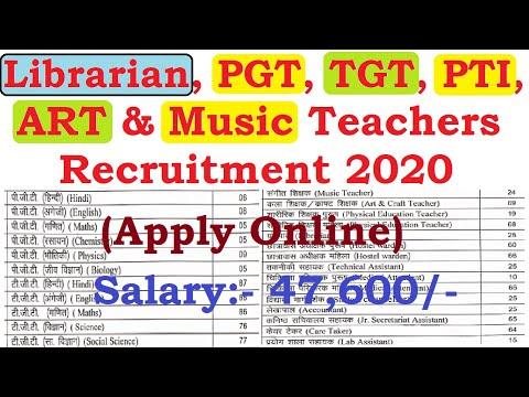 Librarian PGT, TGT, PTI, Art & Music Teachers Recruitment 2020, Apply Online, Guest Teachers Vacancy