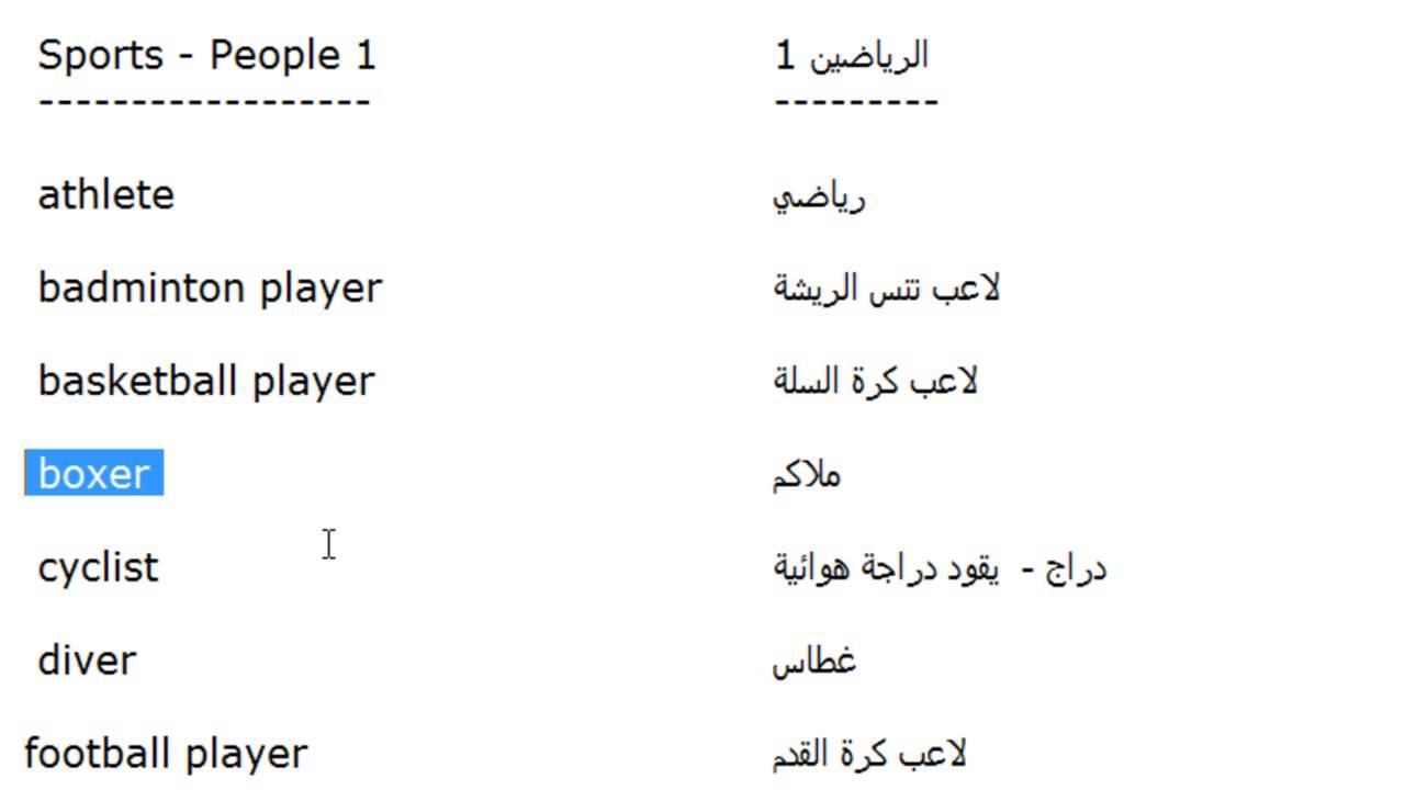 كلمات انجليزية الدرس 181 اسماء الرياضين باللغة الانجليزية الجزء 1 Youtube Basketball Players Athlete Football Players