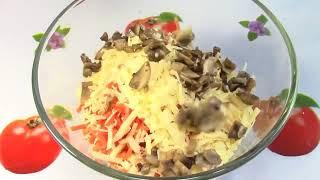 Салат курица грибы кукуруза яйца сыр!