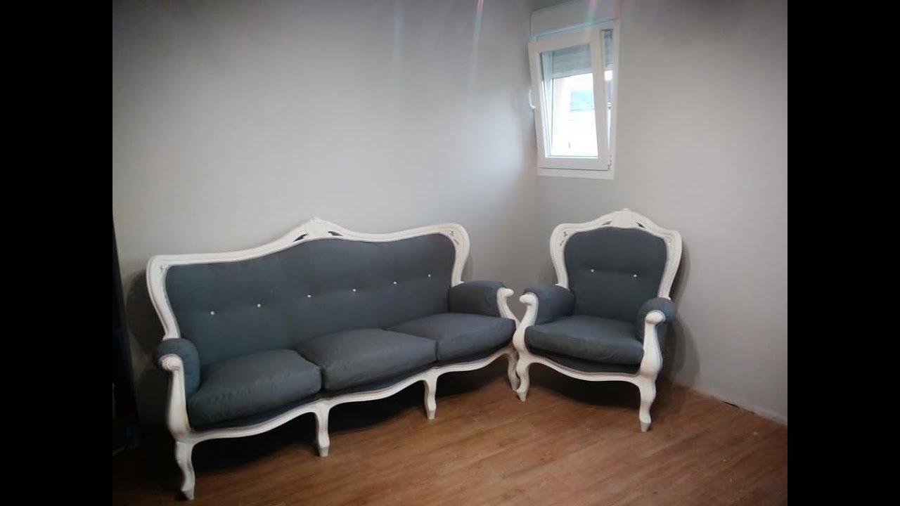 C mo tapizar sof isabelino youtube - Tapizar sofa ...