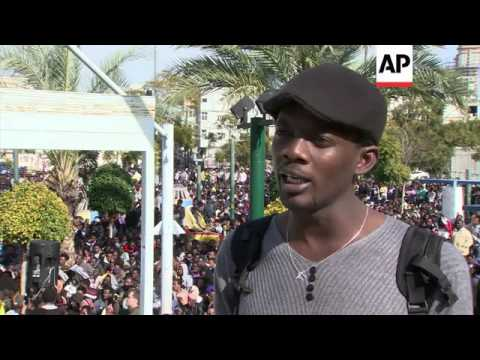 Thousands of African migrants continue to demand asylum and work rights