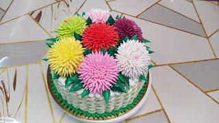 Торт Корзина с хризантемами