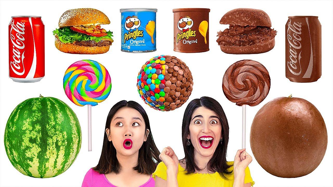 Download MAKANAN DARI COKELAT VS ASLI VS REAL || Tantangan Makanan Yang Menggiurkan oleh 123 GO! GOLD