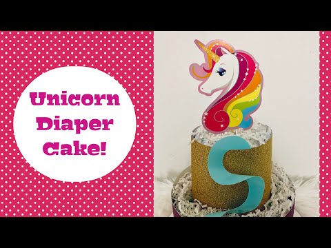 Unicorn Themed Diaper Cake/ 2 Tier Magical Diaper Cake