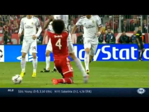 Dante horror foul on Cristiano Ronaldo | Bayern vs Real Madrid 0-3 | 2014