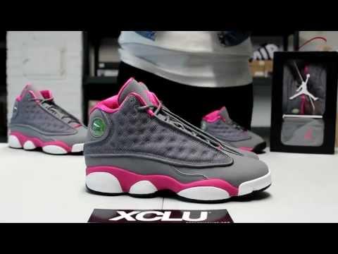 GS Air Jordan 13 Cool Grey Rose Pink On feet Video at Exclucity