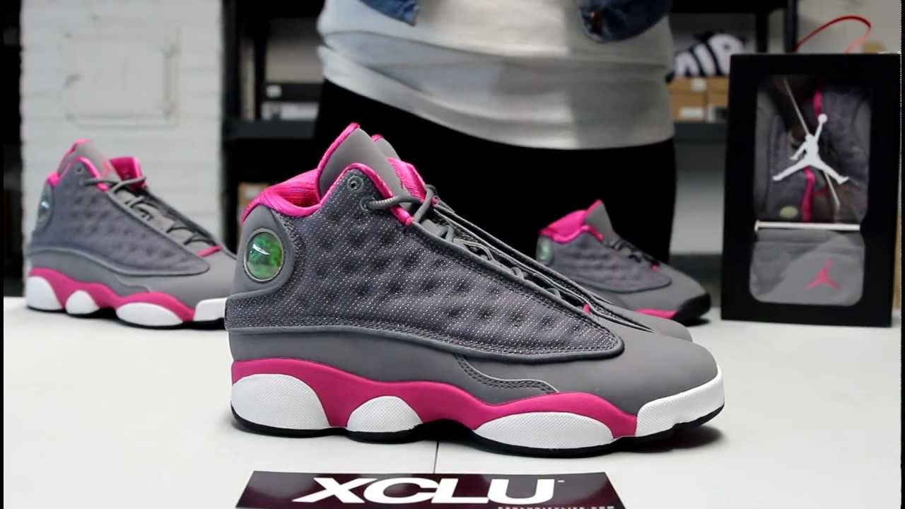 best sneakers 68d50 3e9c0 GS Air Jordan 13 - Cool Grey   Rose Pink Unboxing Video at Exclucity -  YouTube