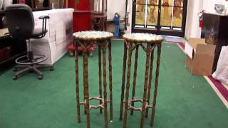 Pair Wood Carve Bamboo Cloisonné Top Plant Stands S2614m