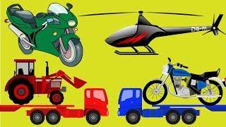 Aprender as cores com caminhão trator e moto