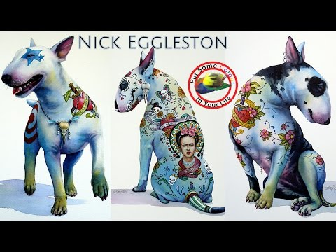 Fine art tips with Nick Eggelston on Colour In Your Life, painting his watercolour bull terrior dogs