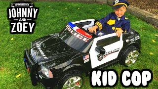 "KID COP Episode: 1 ""Kid Trax Police Car"" Dodge Charger Unboxing by Johnny and Zoey"