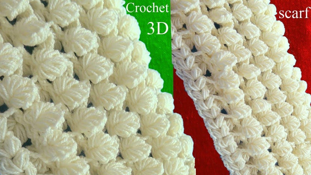 9d263644c Bufanda a Crochet en punto 3D - Patrones gratis